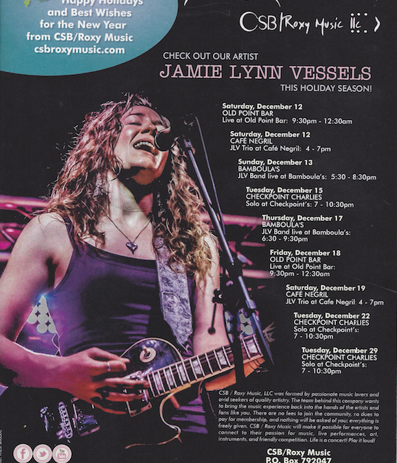 Jamie Lynn Vessels nominated for Best of the Beat, featured in December's OffBeat